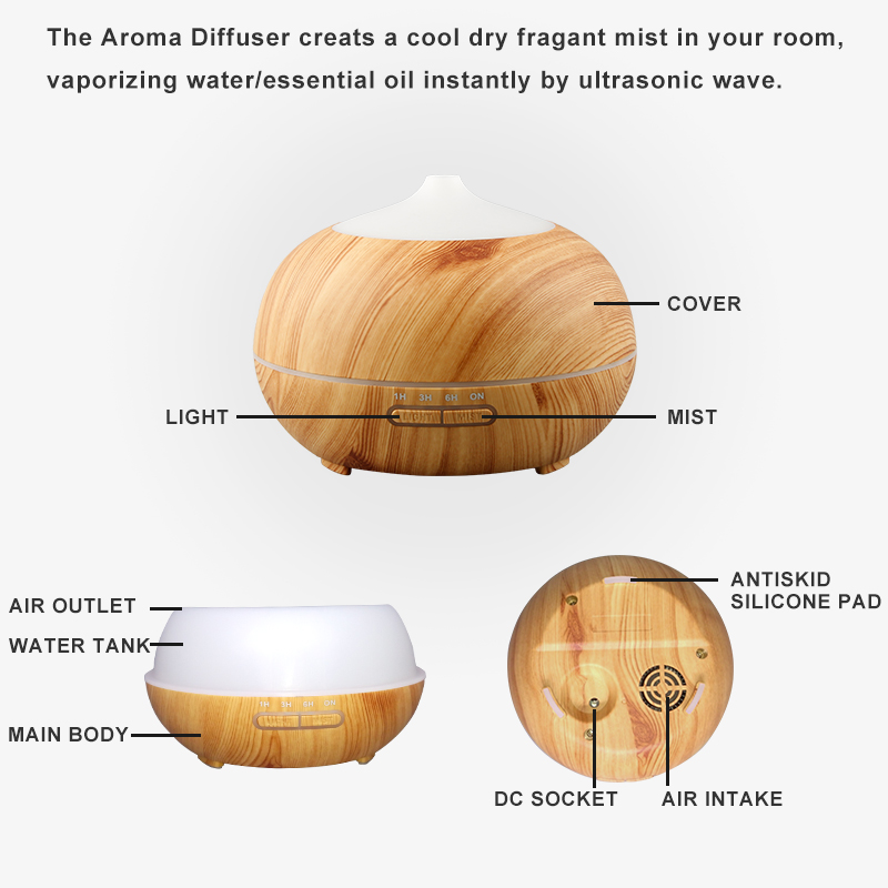 Hidly Wood Grain Essential Oil Diffusers