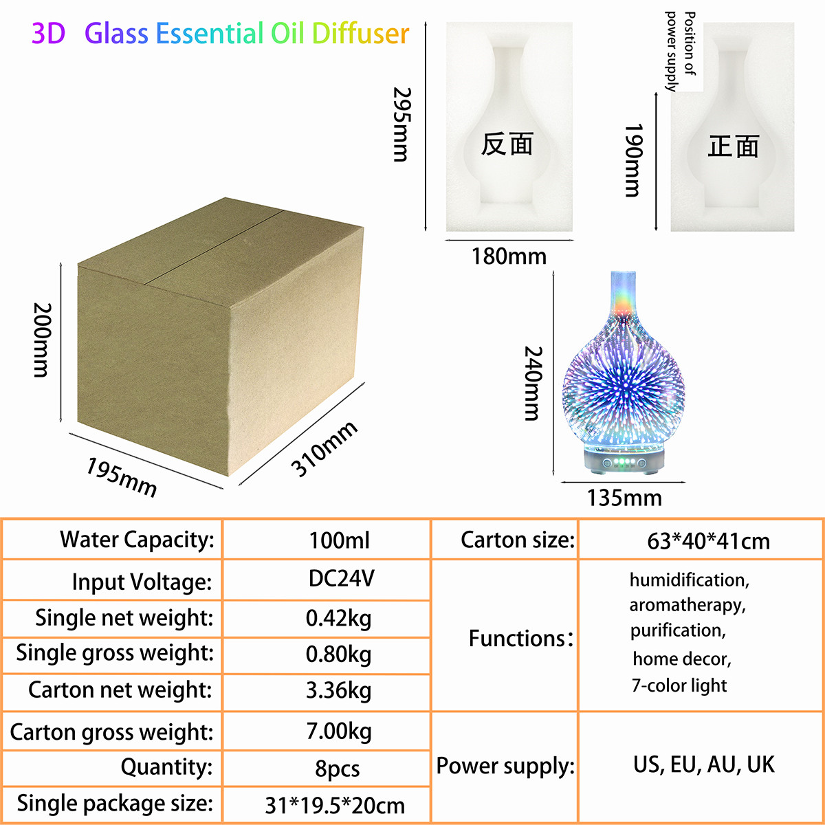 Hidly 3D Glass Aromatherapy Diffuser