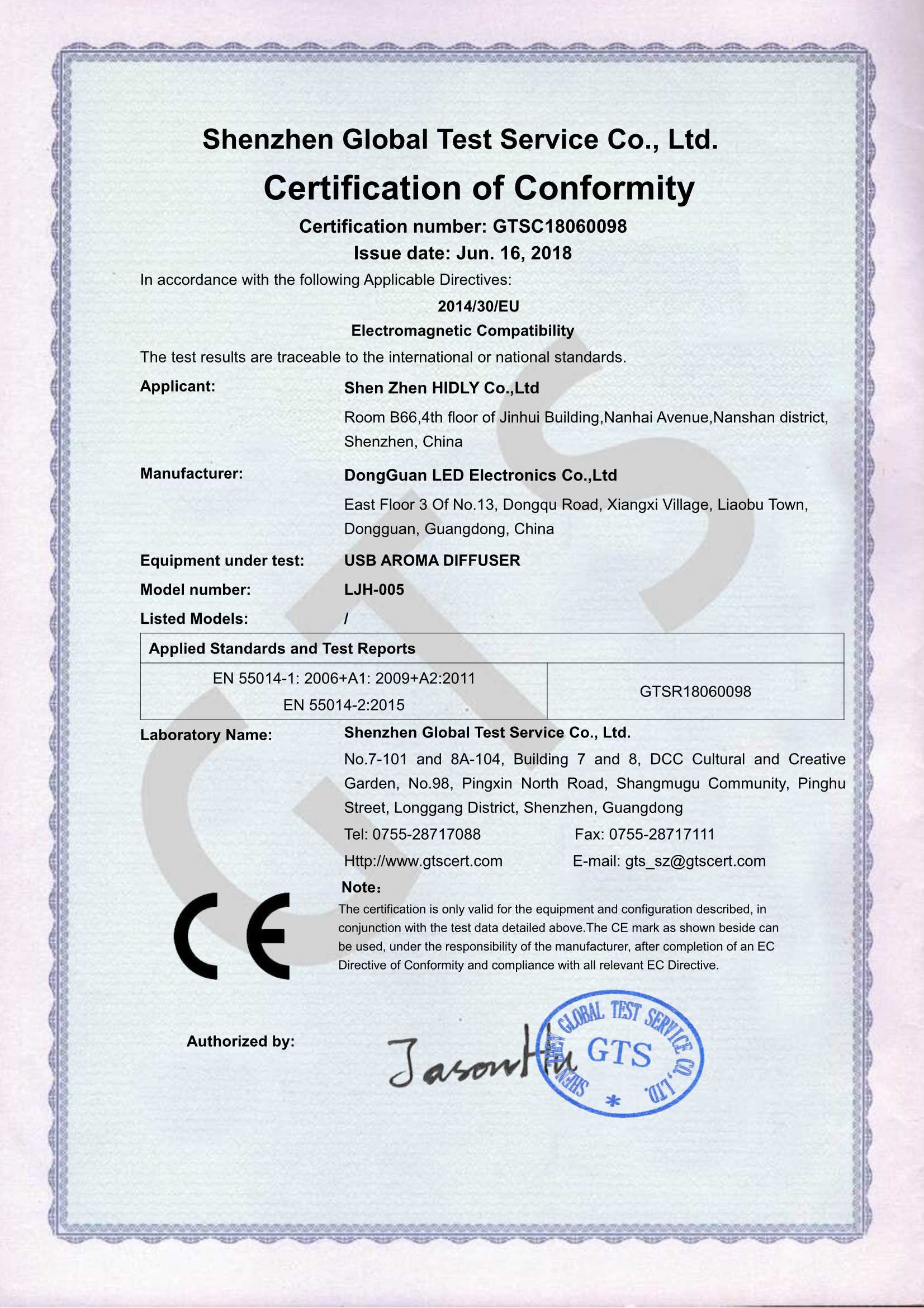 Our aroma humidifier(LJH005)have acquired CE-EMC Certifications