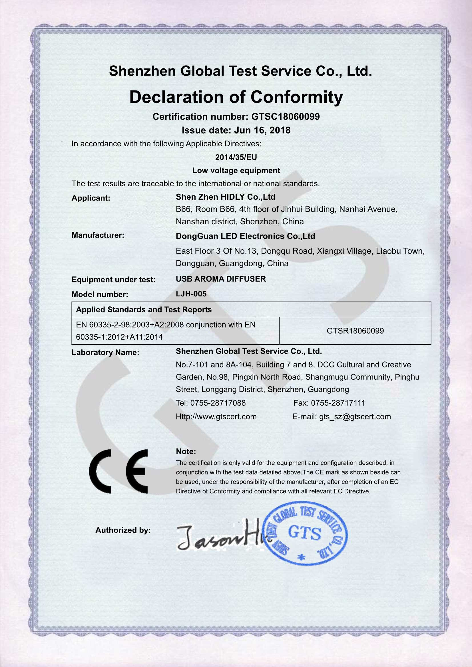 Our aroma humidifier(LJH005)have acquired CE-LVD Certifications: